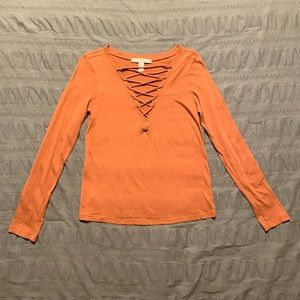 Fall orange lace up front long sleeve